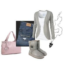 A fashion look from September 2011 featuring Fat Face cardigans, Abercrombie & Fitch jeans and UGG Australia ankle booties. Browse and shop related looks.