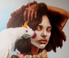 Salt & Pepper Kinky curly afro bird girl woman