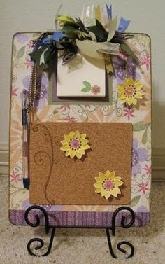 Tutorial on how to turn a basic dollar store clipboard into an adorable message center.