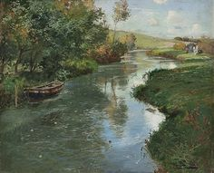 Frits Thaulow (Norwegian, 1847–1906) Title: River Landscape Medium: oil on canvas Size: 50 x 61 cm. (19.7 x 24 in.)