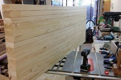 A Solid and Cheap Workbench: 10 Steps (with Pictures) Workbench On Wheels, Workbench Stool, Industrial Workbench, Building A Workbench, Garage Workbench, Woodworking Bench Plans, Woodworking Logo, Woodworking Crafts, Diy Farmhouse Table