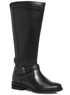 Evans Black Leather Panelled Riding Boots