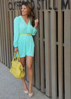 Mint + yellow for a casual summer look     marionberrystyle.blogspot.com