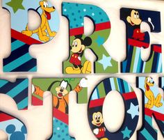 Personalized Wooden Wall Letters for Nurseries by AllysCustomArt Personalized Wooden Wall Letters for Nurseries and Kids Rooms - Inspired by Mickey And Best Friends bedding With Mickey Mouse Goofy Pluto