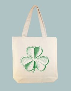 Vintage Shamrock Clover Illustration on 15x15 Canvas Tote -- Larger Zipper Top Tote style and personalization available