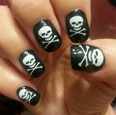 White SKULL and Crossbones Nail Art Decals (SKW) 31 Skulls and Crossed Bones Waterslide Pirate Nail Stickers, Works over any color polish Goth Nail Art, Goth Nails, Skull Nails, Skull Nail Art, Halloween Nail Designs, Halloween Nail Art, Nail Decals, Nail Stickers, Pirate Nails