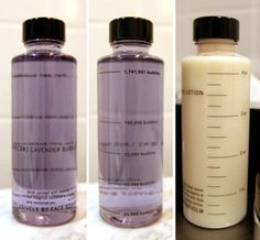 Scaled cosmetic bottles : volume and number of bubbles - by Face Stokholm for Mercer Hotel