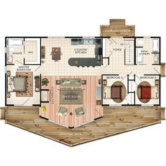 Banff II Floor Plan | 1428 sq ft, 3 bedroom, 2 bath. Stairs to access basement or crawl space. Another nice one-level home.
