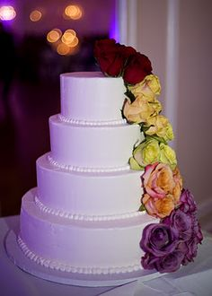 Rainbow Flowers - Wedding Cake