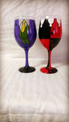 Harley Quinn And The Joker Inspired Hand Painted Wine Glasses. by AWhimsicalHoot on Etsy
