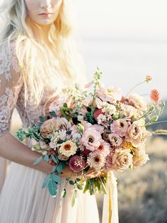 Jaw-Dropping Textured Bouquet | Coastal Sunset Bridal Inspiration by Heather Payne Photography