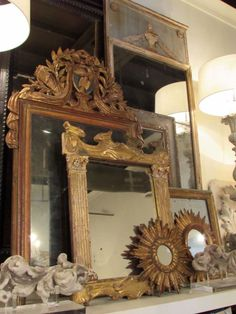 Extraordinary collection of antique mirrors
