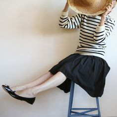 Striped wool sweater, black gathered skirt, black patent repettos