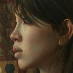 Artist: Osamu Obi (b. 1965), oil on canvas, 2009 {figurative realism beautiful female head asian woman face portrait profile detail painting #loveart} osamu-obi.com