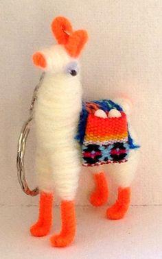 Tiny Llama Alpaca Vicuña Keychain Collectible Miniature FREE Shipping Handcrafte