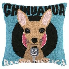 Hand-hooked wool pillow with a Chihuahua motif.
