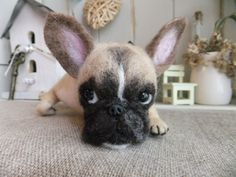 Needle felted frenchie