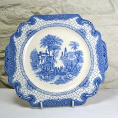 Adams Cake Plate Blue and White China Serving by FeltersCottage