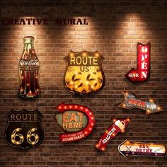20 Styles Vintage LED Light Neon Signs Decorative Painting For Pub Bar Restaurant Cafe Advertising Signage Hanging Metal Signs Bar Vintage, Vintage Metal Signs, Vintage Party, Style Vintage, Retro Vintage, Retro Style, Vintage Industrial, Vintage Wood, Industrial Design
