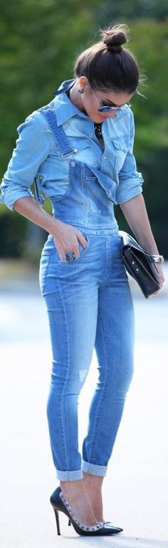 via www.girlratesworld.com Denim on Denim Action - Women's Overalls, Rompers and Jumpsuits - Girl Rates World Beauty Blog: Beauty Reviews | Fashion Trends | Makeup Tut...