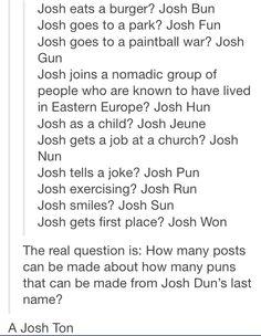 Josh is the light of your life? Josh Sun.