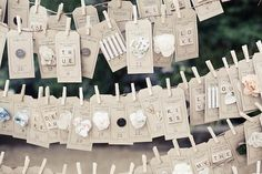 Amazing escort cards!! Love the button and the combination of different vintage & rustic buttons!! Love this!