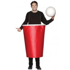 Whether you're in college or not, beer pong is still the hottest drinking game around. This life sized red party cup Beer Pong costume includes a giant red cup with straps and a large blow up ping pong ball. This costume would go GREAT with your favorite beer branded t-shirt. This costume is one size fits most.