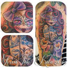 http://tattoosbykata.blogspot.fi, https://www.facebook.com/VorssaInk, #tattoo #tatuointi #katapuupponen #vorssaink #forssa #finland #pinup #traditionaltattoo #muerte