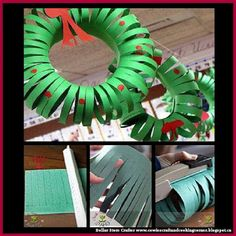 Dollar Store Crafter: Turn Dollar Store Construction Paper Into Cute Christmas Wreath Christmas Arts And Crafts, Simple Christmas, Holiday Crafts, Christmas Diy, Christmas Wreaths, Wooden Christmas Decorations, Church Crafts, Construction Paper, Diy Wreath