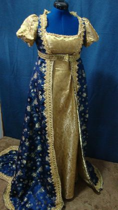 Blue and Gold Renaissance Gown by WorksByRenaeHall on Etsy, $350.00