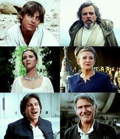 Luke Skywalker, Leia Organa and Han Solo - Before and After - see, I love it, but I also want to cry. At least Leia is still a BAMF. <3