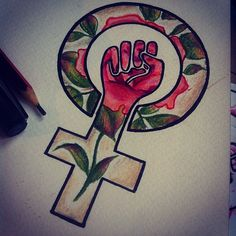 Design based on an image sent by a client. So excited to hopefully tattoo it... Hope she likes it! #feminist #feministfist #feminism #feministtattoo #rose #rosetattoo #colour #tattoo #tattoos #tattooart #tattoodesign #tattoodrawing #tattooapprentice #flower #rosedrawing #drawing #sketch #clarawelsh #leaves #art