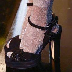 Glitter socks and platform sandals