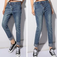 Free shipping Women's Harem pants Casual Jeans Pants Plus size Long  Loose Denim…