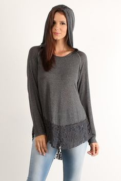 Lace Trim Hoodie Top ($62) Comfortable yet chic, this charcoal gray hoodie features lace details that give an overall romantic flair. A relaxed fit, long sleeves, and variegated hemline complete the look. Pair with Embroidered Ankle Light Wash Jeans for effortless, every day style.
