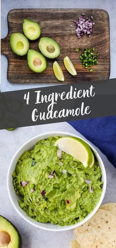 This easy 4 ingredient guacamole recipe is the perfect dip to serve with your favorite tortilla chips! You only need a few basic pantry staples to transform your avocados into crave-worthy guacamole! Yummy Appetizers, Appetizers For Party, Appetizer Recipes, Snack Recipes, Dinner Recipes, Cooking Recipes, Party Recipes, Mexican Food Recipes, Vegetarian Recipes
