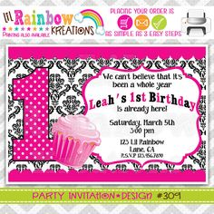 309 DIY Cute Cupcake 4 Party Invitation Or by LilRbwKreations