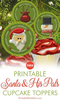 FREE Printable Holiday Cupcake Picks | These easy-to-make cupcake decorations feature Santa and his friends Rudolph and Frosty in designs that look like they're made of 3D fabric but they're actually printable paper.   #CupcakeIdeas #ChristmasCupcakeIdeas #SantaCupcakeToppers #SantaClaus #Santa #RudolphtheRedNosedReindeer #FrostytheSnowman #CarlaChadwick