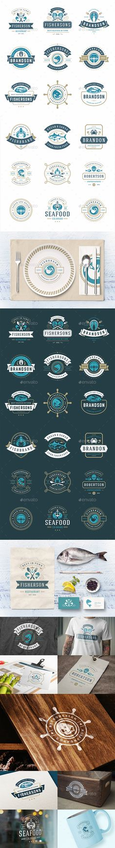 18 Seafood Logos & Badges - Badges & Stickers Web Elements