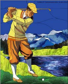 Golfer Stained Glass Traditional Pattern |