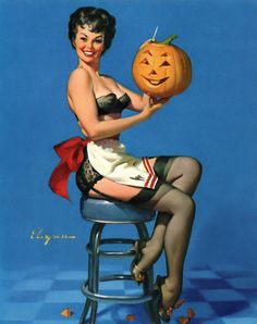 All Smiles (aka: Galamorous or Witchcraft) / illustration by Gil Elvgren, 1962.