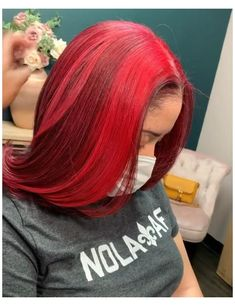 Hair Dye Colors, Hair Color For Black Hair, Black Girls Red Hair, Dye Black Hair Red, Red Hair Looks, Balayage Auburn, Red Balayage Hair, Pressed Natural Hair, Dyed Natural Hair
