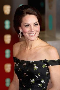 The Duchess of Cambridge smiles at the 2017 BAFTAs.