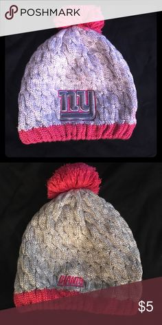 New York Giants Wool Beanie NFL Giants Pink and grey beanie with pink Pom Pom on top. Breast cancer awareness hat. New Era Accessories Hats