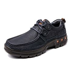Men Outdoor Hikking Shoes Genuine Leather Best Walking Shoes Navy US9 >>> Want additional info? Click on the image.(This is an Amazon affiliate link and I receive a commission for the sales)