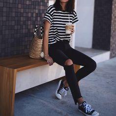 The Great striped tee, J Brand black skinnies, Converse in Bondi