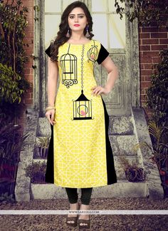 Look sensationally awesome with this yellow faux crepe casual kurti. The fantastic attire creates a dramatic canvas with wonderful print work. (Slight variation in color, fabric & work is possible. Fabric Painting On Clothes, Dress Painting, Painted Clothes, Coloured Leggings, Colorful Leggings, Kurta Designs Women, Blouse Designs, Hand Painted Dress, Fabric Paint Designs