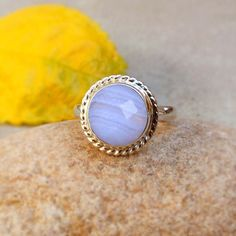 Blue Lace Agate Ring, Lace Agate Silver Ring, Blue Gemstone Faceted Stone, #Agate #Ring #jewelry #sterling #silver