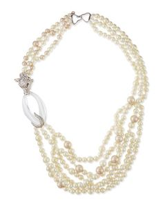 Pearly+Beaded+Pave+Wolf+Necklace+by+Alexis+Bittar+at+Neiman+Marcus.