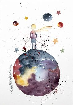 https://www.etsy.com/shop/EmelArt?ref=hdr  Art & Collectibles  #Drawing & Illustration  #Architectural Drawings  #Painting #Watercolor  #LePetitPrice  #TheLittlePrince